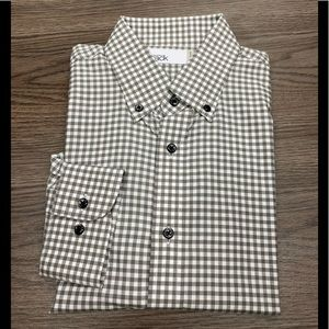 Nordstrom NWT Grey & White Gingham Shirt 15 34/35